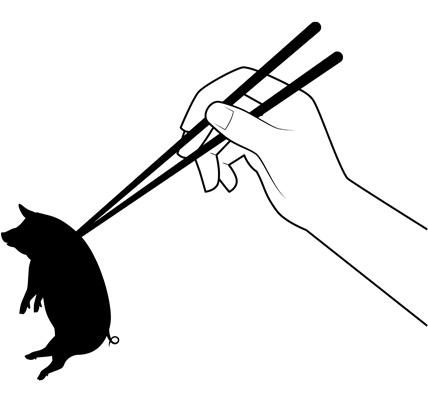 箸でつままれる豚のシルエットイラスト