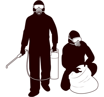 特殊清掃作業員のシルエットイラスト