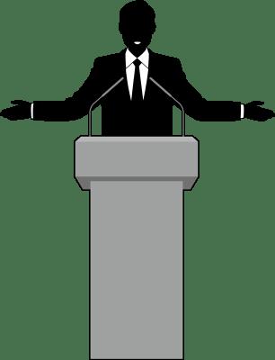 演台でスピーチする男性のシルエットイラスト