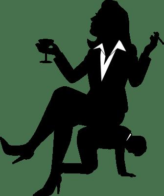 女性に支配される男性のシルエットイラスト