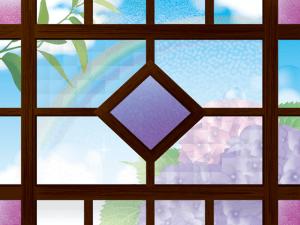 レトロな窓枠と紫陽花