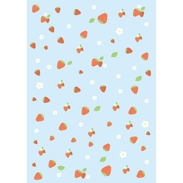背景画像 ブルーのイチゴ柄(カラー)