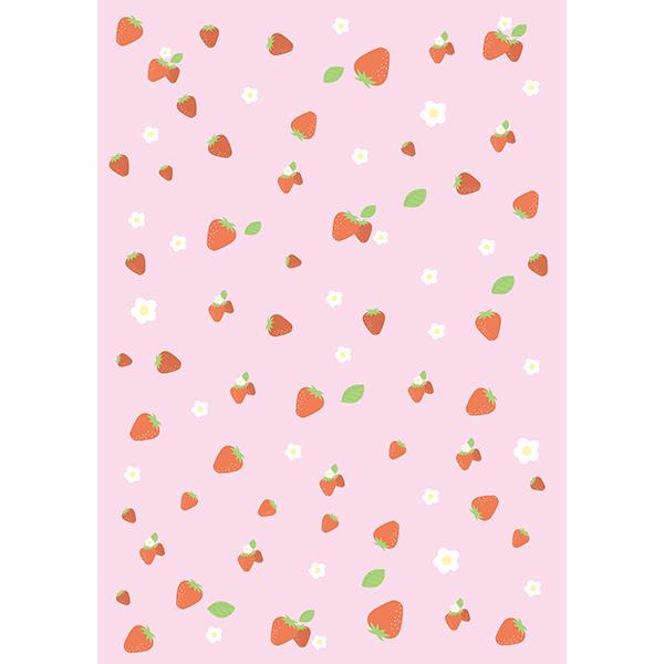 背景画像 ピンク色のイチゴ柄(カラー)