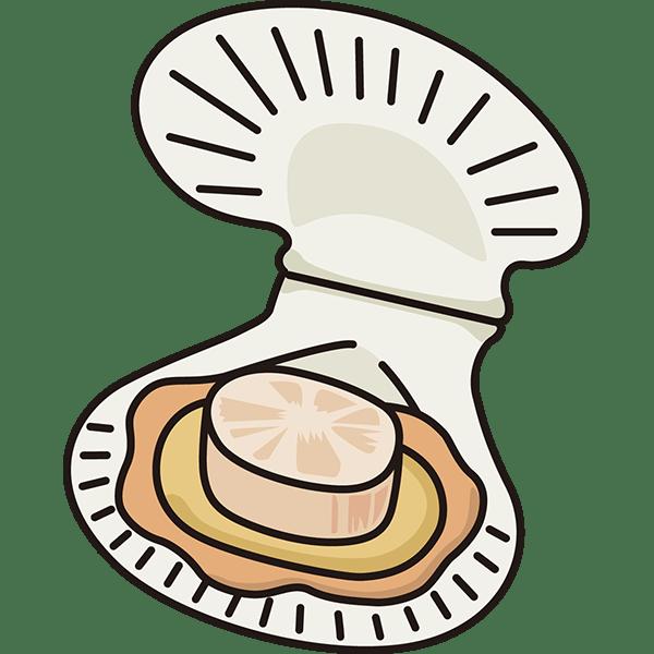 食品 帆立貝ホタテ貝カラー 無料イラストpowerpoint