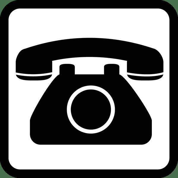 ビジネス ダイヤル式電話アイコン(四角)(モノクロ)