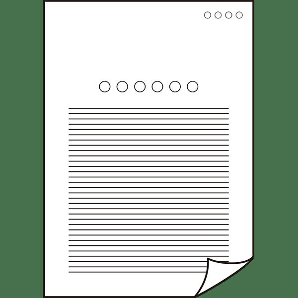 ビジネス 書類・資料アイコン(端折れ)(モノクロ)