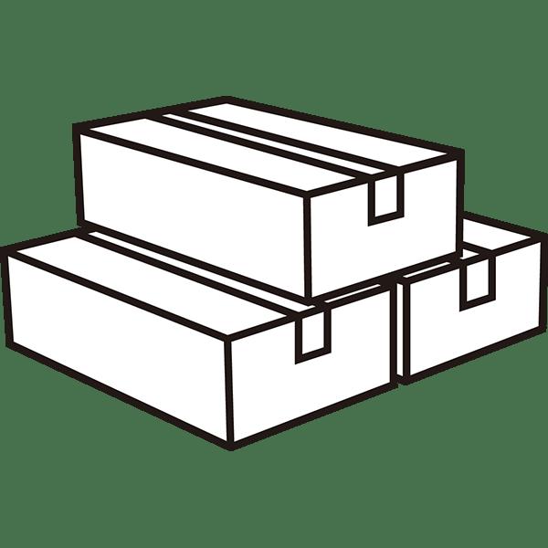 ビジネス 梱包された段ボール(複数・上積み)(モノクロ)