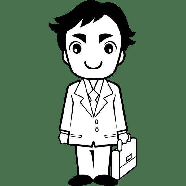 人物 サラリーマン(男性・会社員)(モノクロ)
