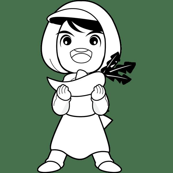 人物 八百屋さん(モノクロ)