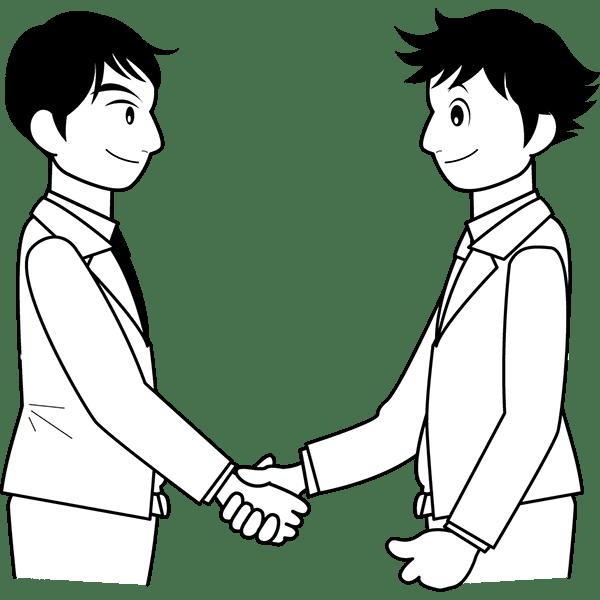 人物 握手(ビジネスシーン)(モノクロ)