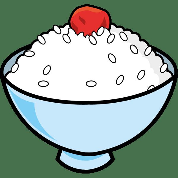 食品 ごはん(白米と梅干し)(カラー)