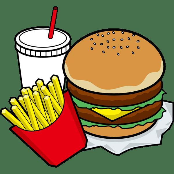 食品 ハンバーガーセットカラー 無料イラストpowerpoint