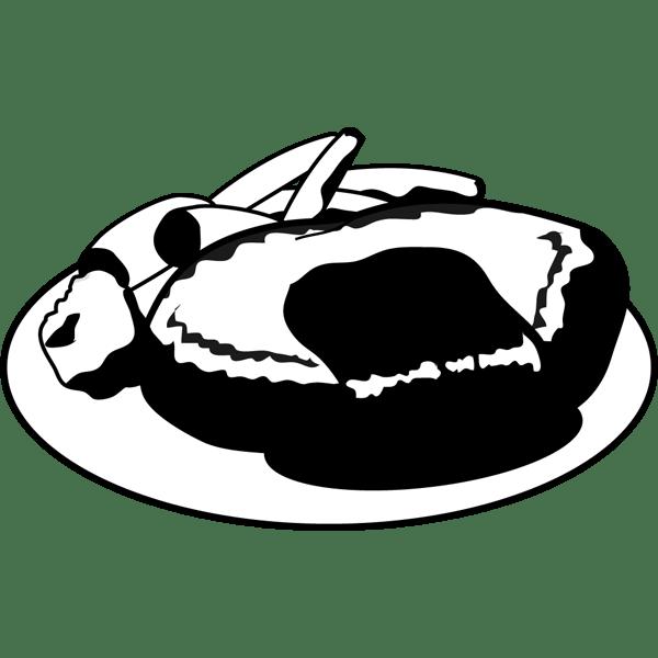 食品 ハンバーグ(モノクロ)