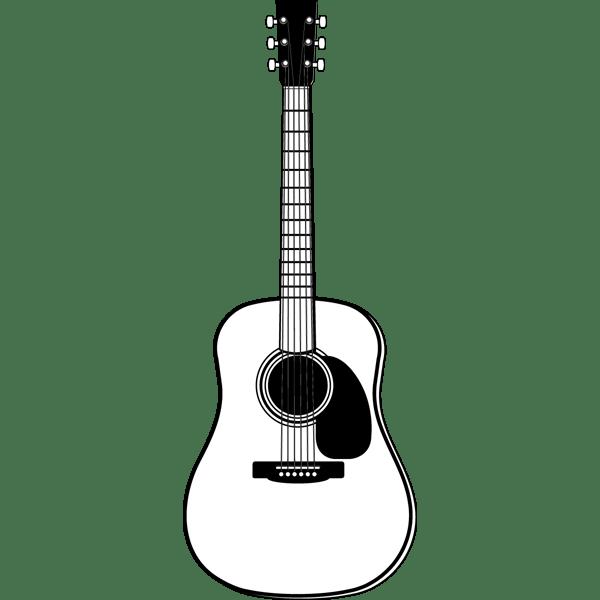音楽 アコースティックギターモノクロ 無料イラストpowerpoint