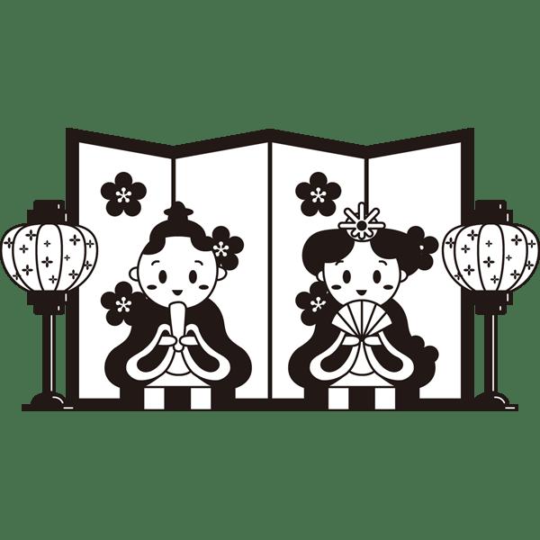 年中行事 雛人形(モノクロ)