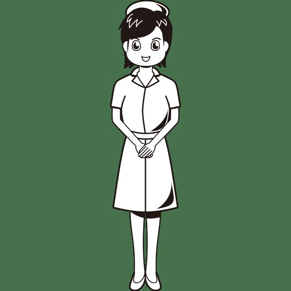医療 看護師(ナース)(モノクロ)