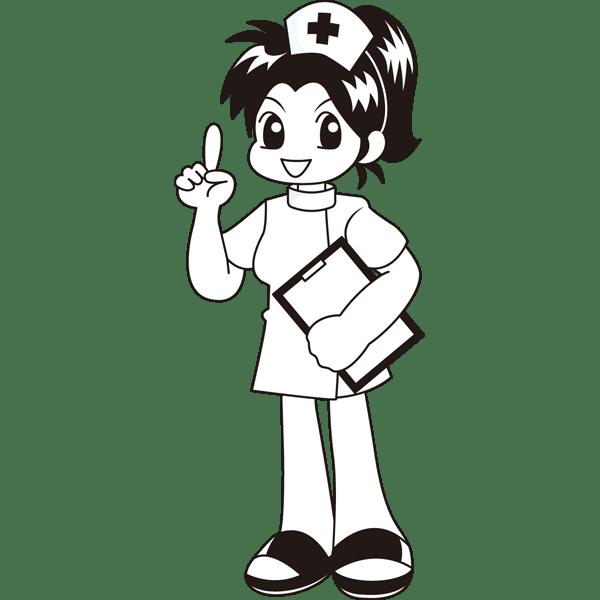医療 看護師(ナース・マンガ風)(モノクロ)