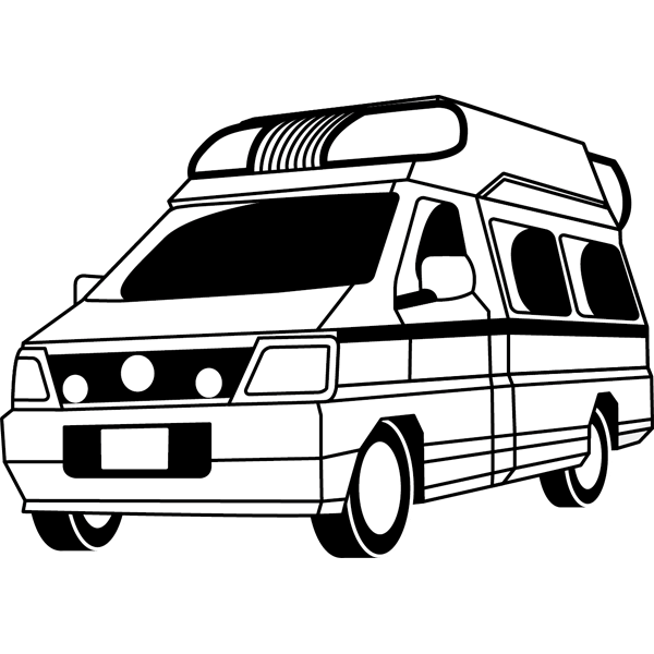 医療 救急車(モノクロ)