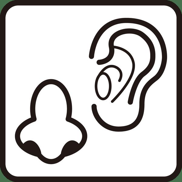 医療 耳鼻科アイコン(モノクロ)