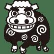 年中行事 獅子舞(モノクロ)