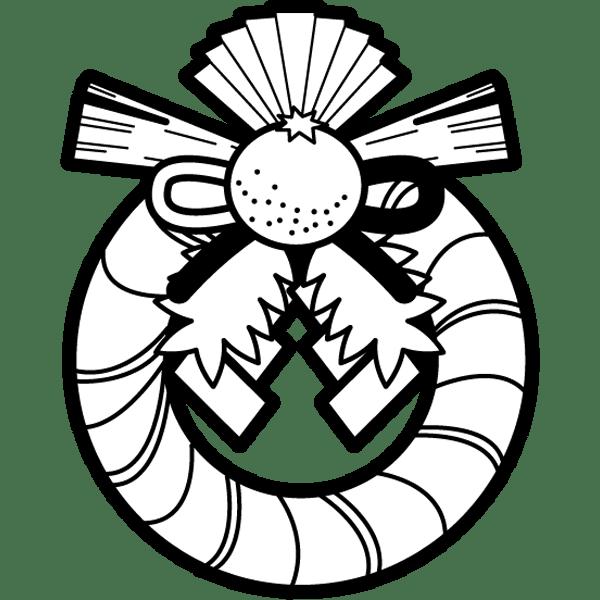 年中行事 しめ縄飾り(正月飾り)(モノクロ)