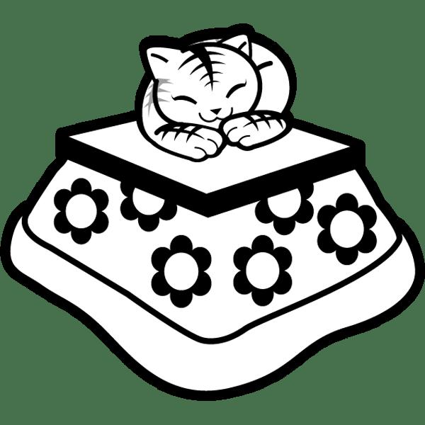 年中行事 こたつと猫(モノクロ)