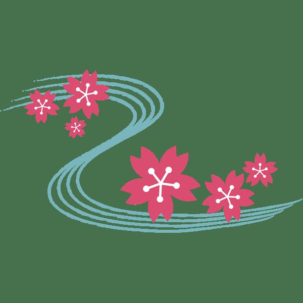 年中行事 桜の花びらと川(カラー)