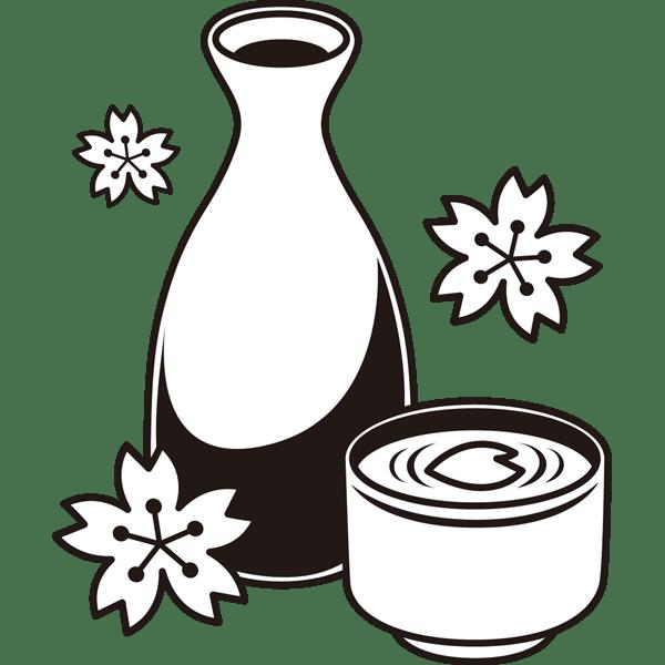 年中行事 お花見のお酒桜と日本酒モノクロ 無料イラスト