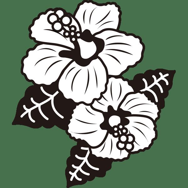 植物 ハイビスカスモノクロ 無料イラストpowerpointテンプレート