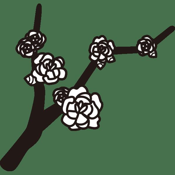 植物 ロウバイ(モノクロ)