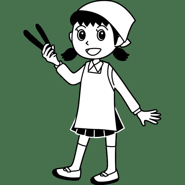 学校 女子生徒(給食当番の女の子)(モノクロ)