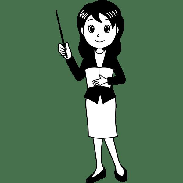 学校 教師(女性の先生)(モノクロ)