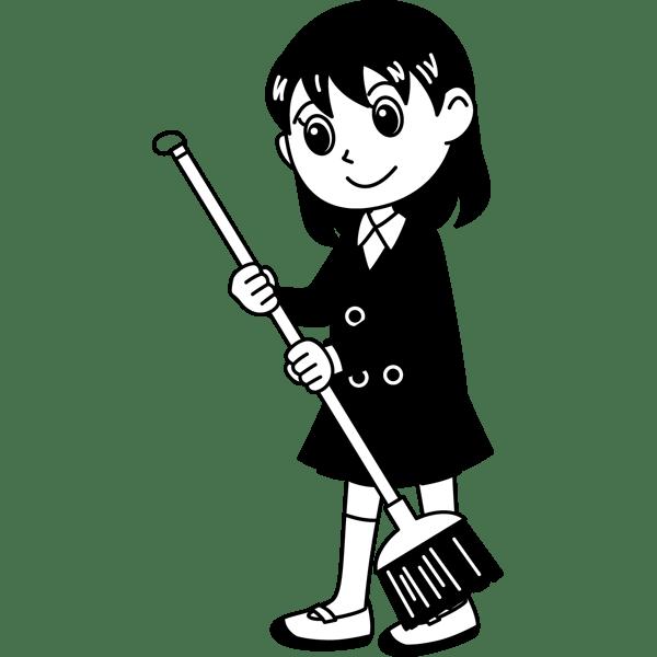 学校 女子生徒掃除をする女の子モノクロ 無料イラスト