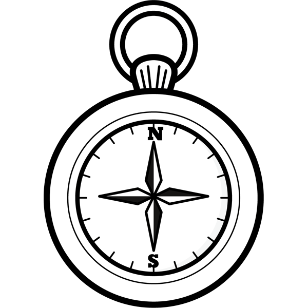 学校 方位磁石(コンパス)(モノクロ)