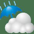 自然 雨時々くもり(天気・傘・雲)(カラー)