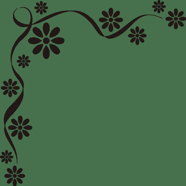 装飾 オーナメント(花)(モノクロ)