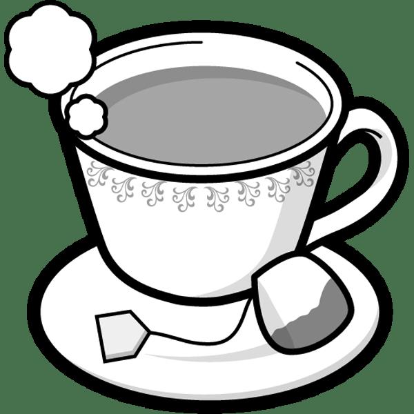 食品 紅茶(ホットティー)(モノクロ)