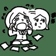 ドジっこ女性社員(うそ泣き)(モノクロ)