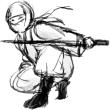 忍者 NINJA 刀(線画)