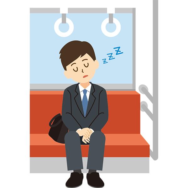 電車内 居眠りをする会社員男性 無料イラストpowerpointテンプレート