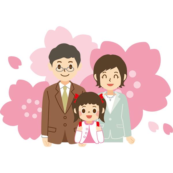 入学式 家族上半身 桜 無料イラストpowerpointテンプレート配布