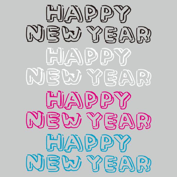 手書き文字 Happy New Year ライン 無料イラストpowerpoint
