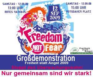 """Banner """"Freiheit statt Angst"""""""