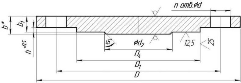 ЗАГЛУШКИ ФЛАНЦЕВЫЕ АТК 24.200.02-90 ИСПОЛНЕНИЕ 2РУ 1,0 МПА (10 КГС/СМ2) чертеж