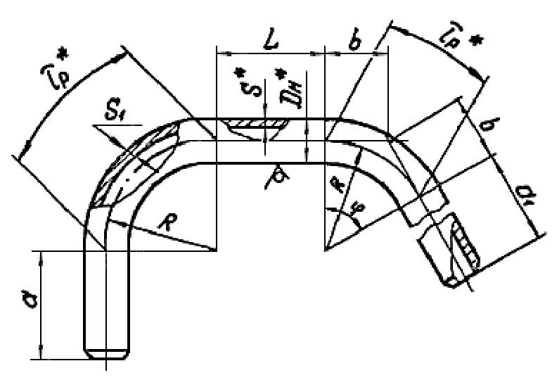 Колена гнутые ОСТ 34 10.751-97 15-90 град. исп.3 чертеж