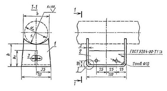Опоры подвижные тип ОПП1 ОСТ36-94-83 чертеж