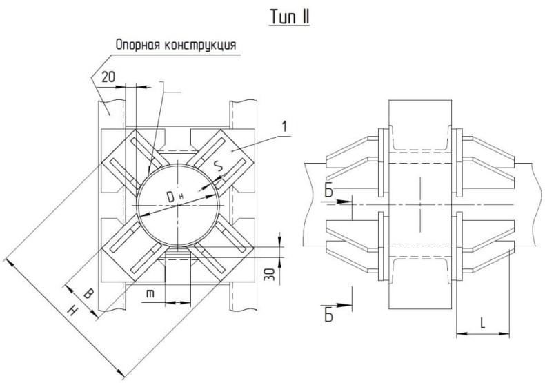 Опоры неподвижные лобовые четырехупорные Т5 серия 4.903-10 выпуск 4 тип 2