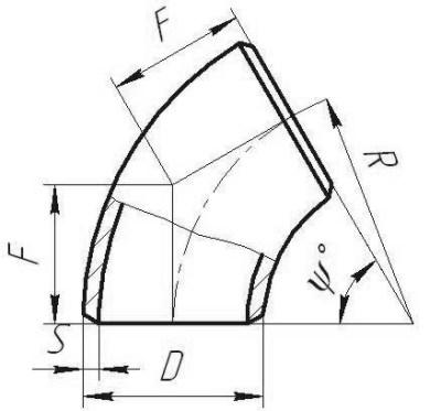 Крутоизогнутые колена СТО 79814898 111-2009 чертеж