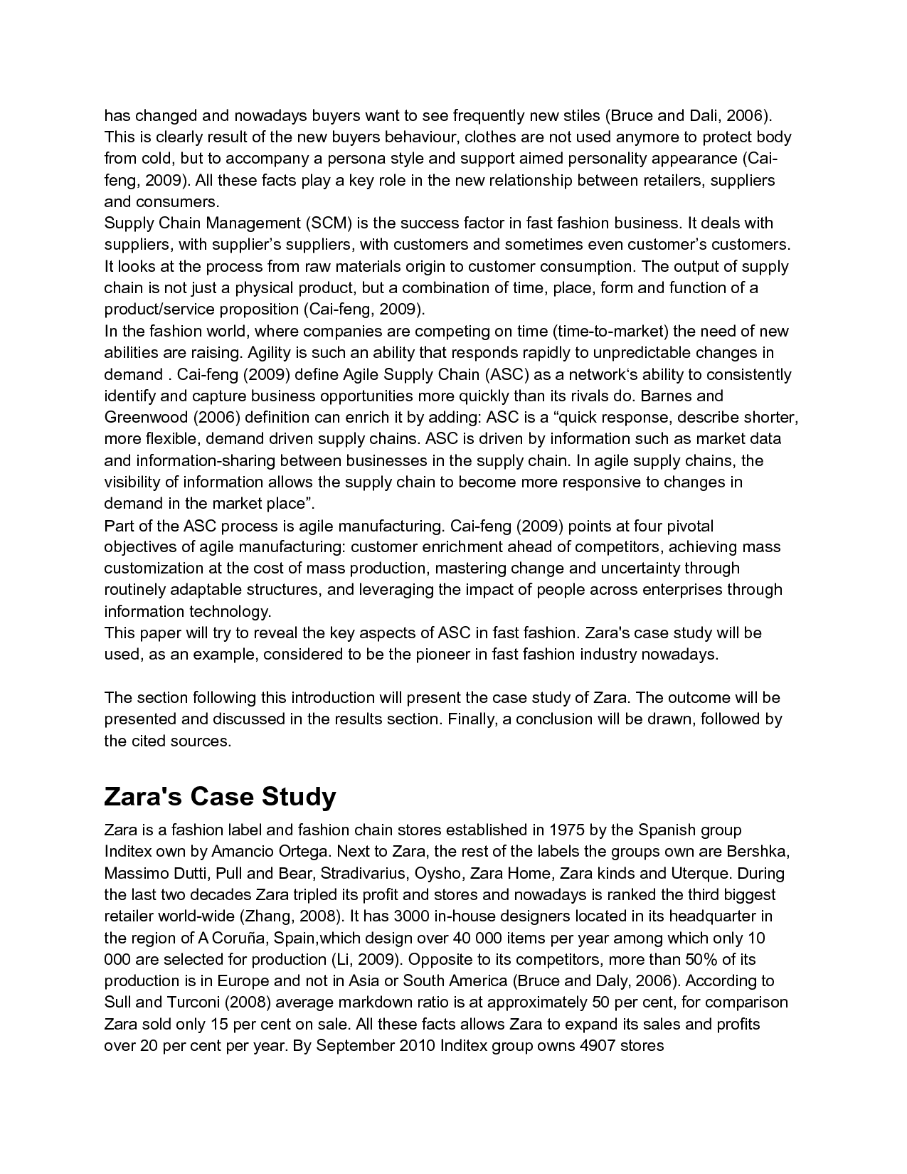 Zara Case Study Analysis Agile Supply Chain Zara S Case Study