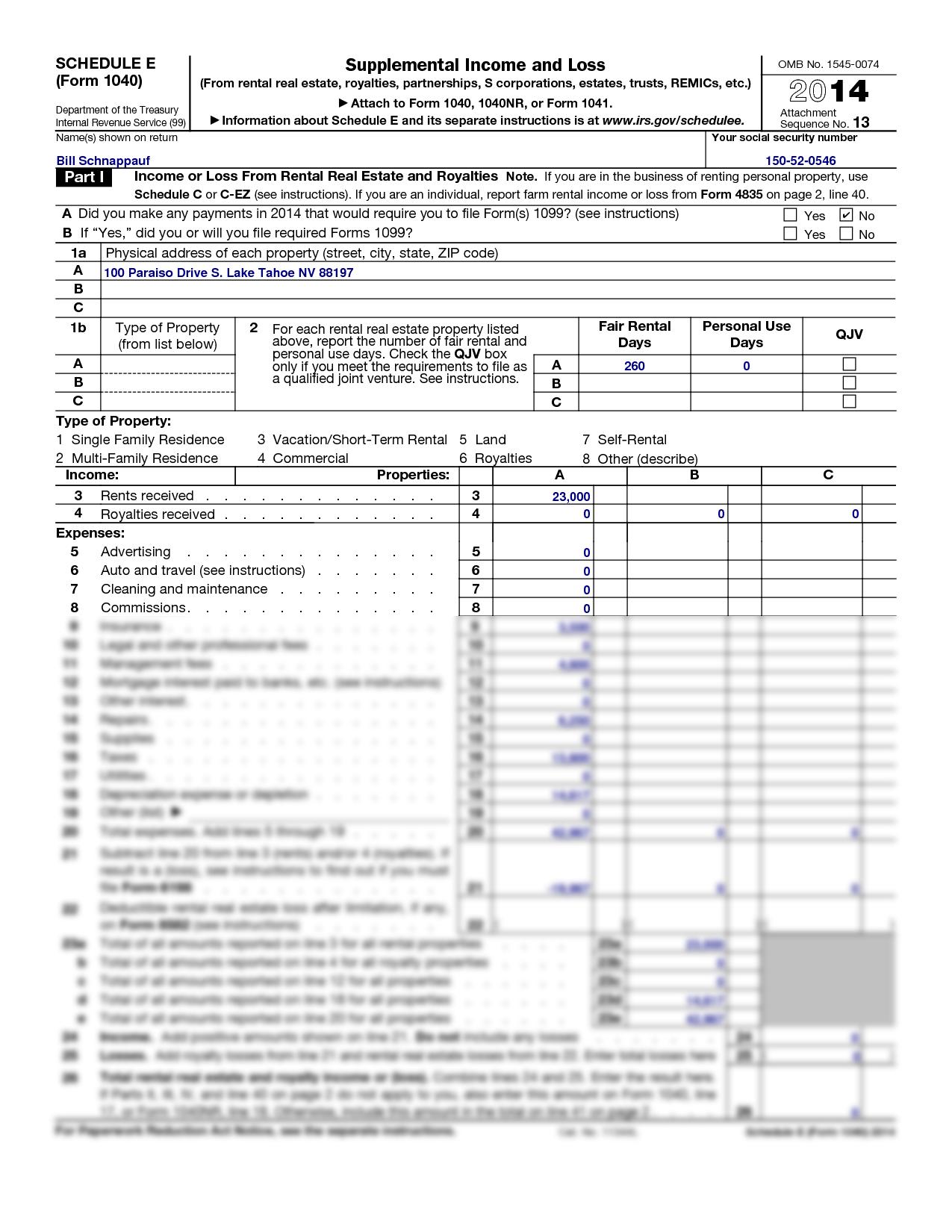 Solution Tax Returns Schnappauf Schedule E 2014 Studypool